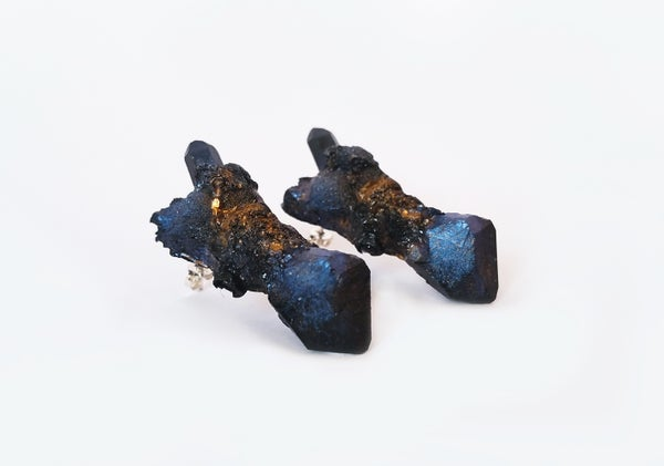 Image of CELESTIAL STUD EARRINGS - Black Opaline