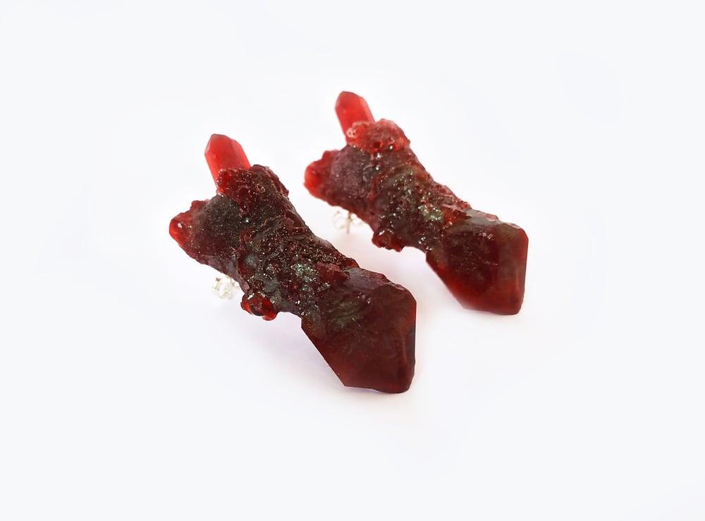Image of CELESTIAL STUD EARRINGS - Blood Ruby