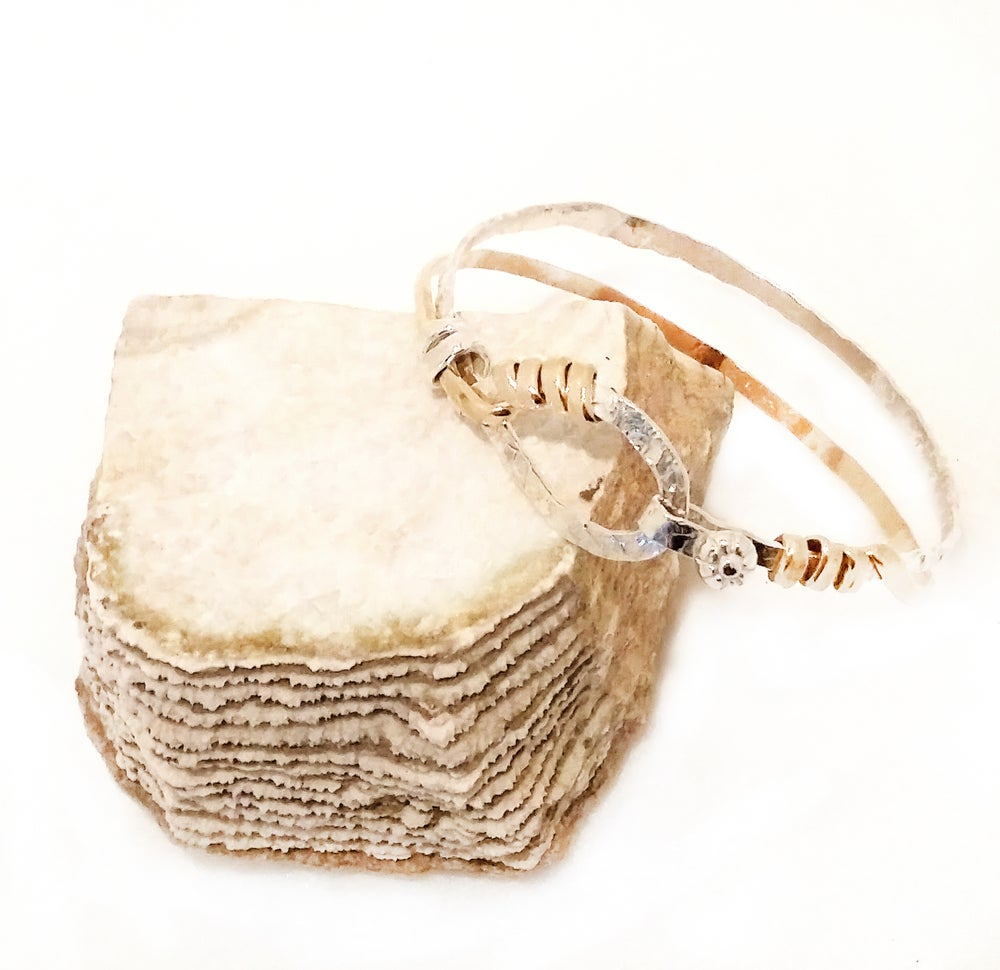 Image of 14K Gold and Sterling Mixed Metal Hammer Texture Embrace Bangle