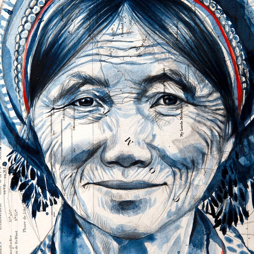 "Image of Paper Art Print - ""Vieille dame Hani en indigo"""