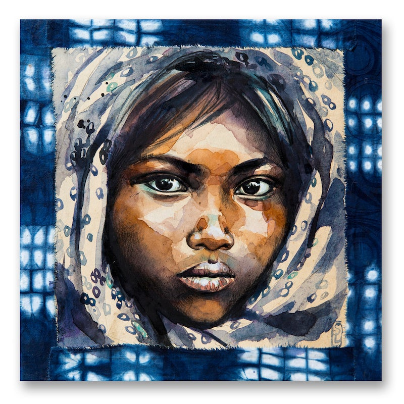 """Image of Paper Art Print - """"Le voile indigo à ronds"""""""