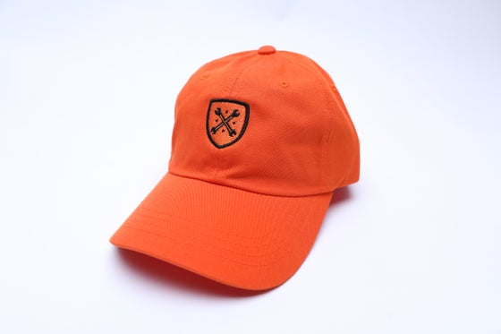 "Image of Orange and Black Logo ""Dad"" Hat"