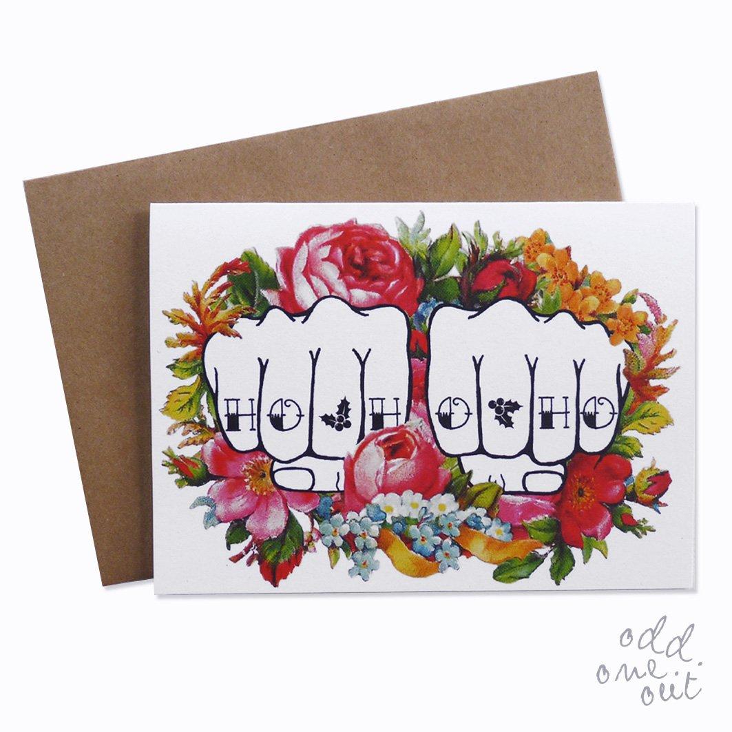 Image of Ho Ho Ho - Knuckle Tattoo Christmas Card