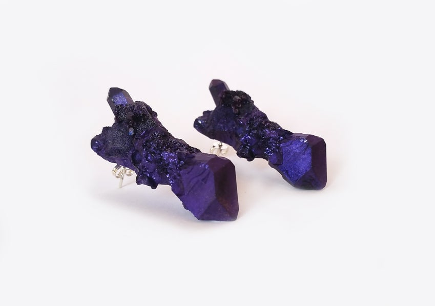 Image of CELESTIAL STUD EARRINGS - Violet