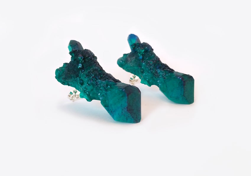 Image of CELESTIAL STUD EARRINGS - Malachite green opaque - (SAMPLE - Only 1 in stock)