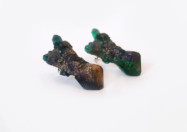 Image of CELESTIAL STUD EARRINGS - Emerald (SAMPLE - Only 2 in stock)