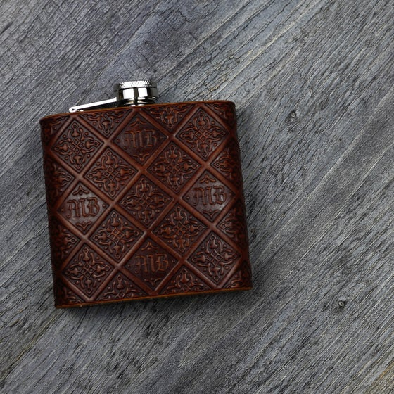Image of Gothic Monogram - 6oz Leather Hip Flask