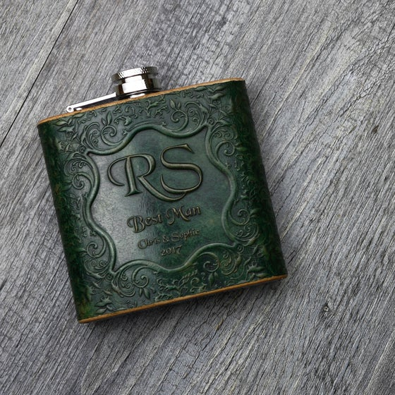Image of Floral Vine - 6oz Leather Hip Flask