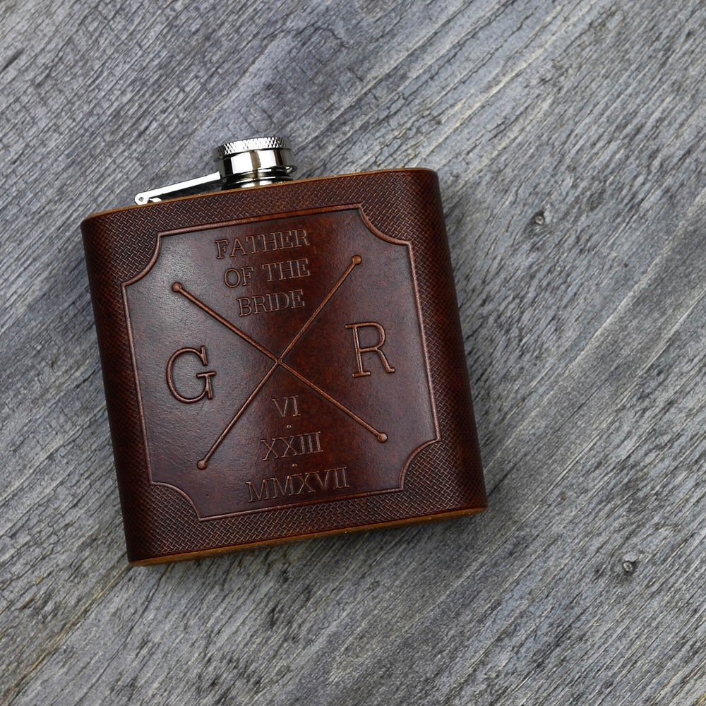 Image of Hipster Cross - 6oz Leather Hip Flask