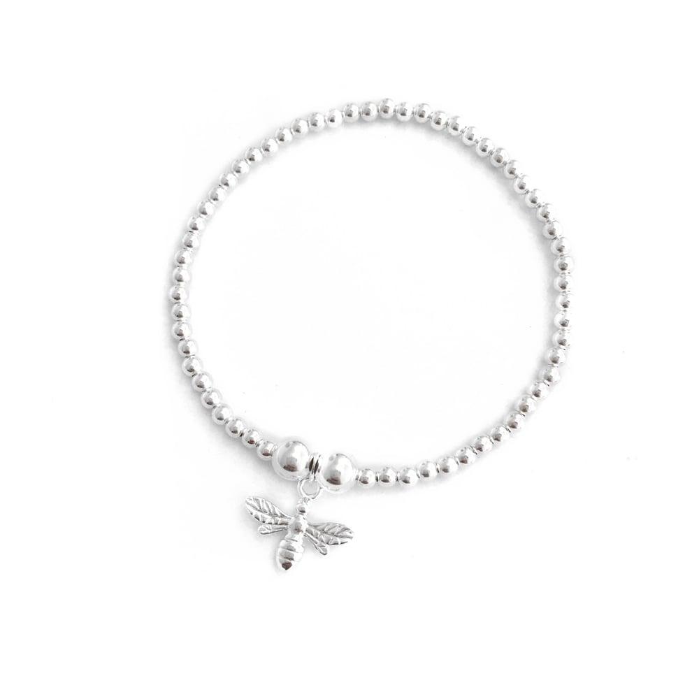 Image of Sterling Silver Bee Charm Bracelet