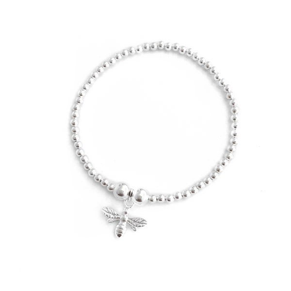 Image of Sterling Silver Bee Charm Bracelet