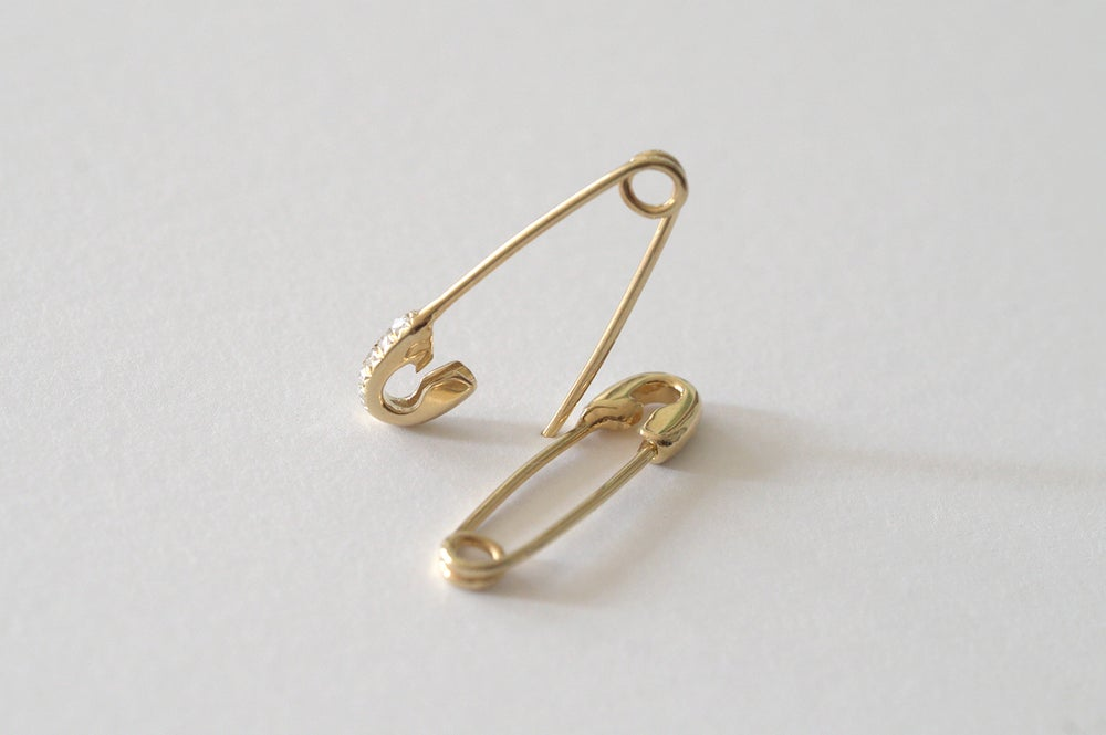 Image of Safety Pin Earrings with Pave Diamond Setting