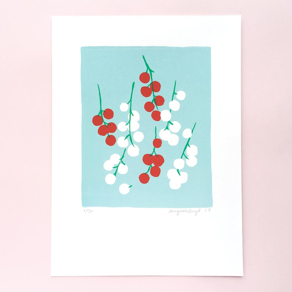 Image of Red and white currants - Screen print