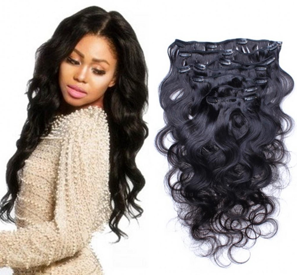 Image of Body Wave Brazilian Hair Extension Clip Ins