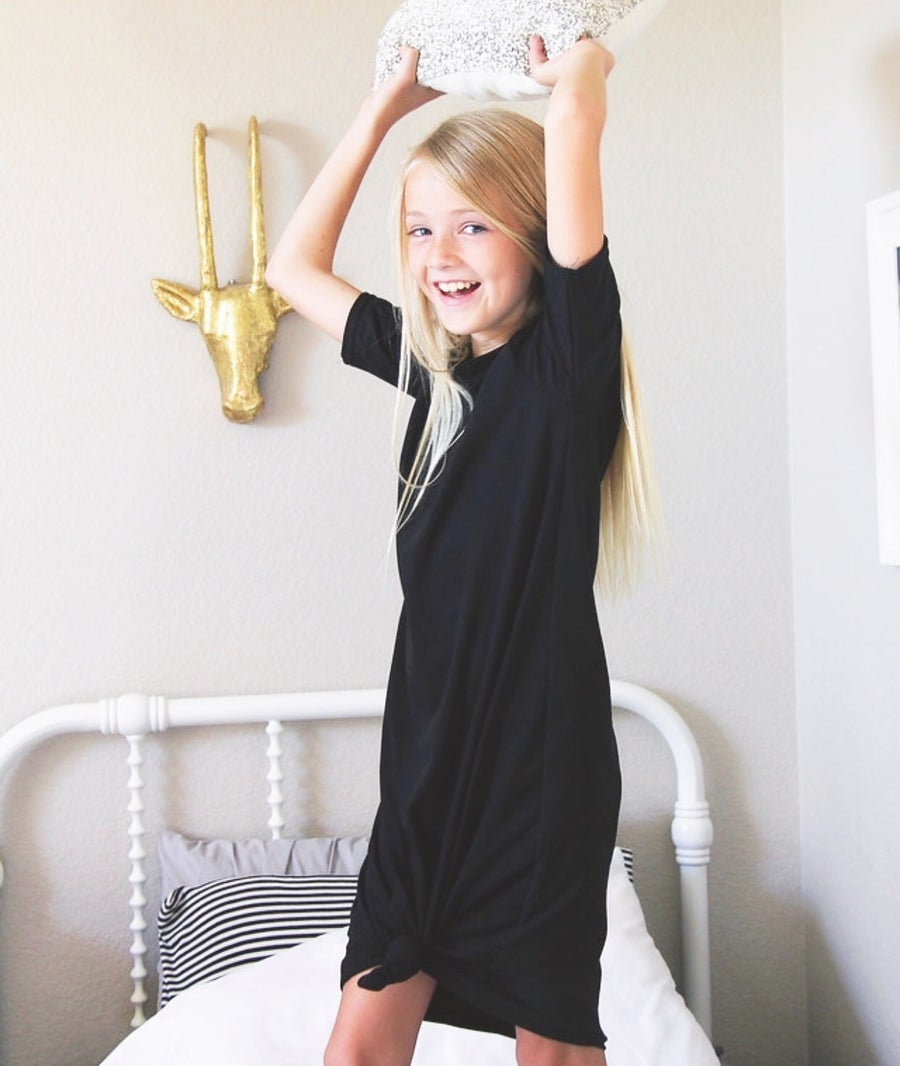 Image of Baby/Girls Black Knot Knit Dress