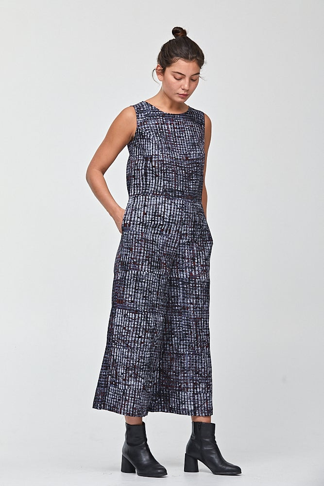 Image of Guacho Jumpsuit in Grid Batik Print