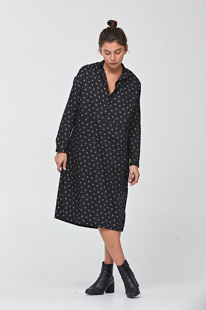 Image of Mandarin Collar Dress in Tiny Flower Print