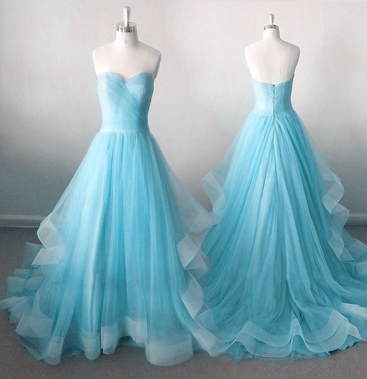 Light Blue High Quality Party Gowns, Light Blue Party Dresses, Evening Gowns
