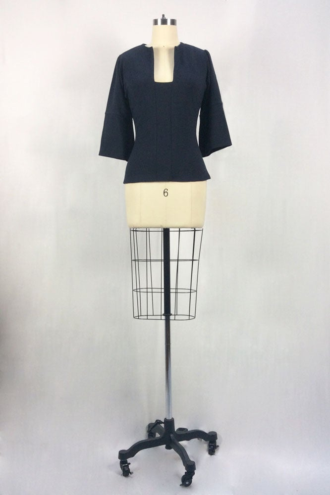 Image of Fitted Cubist Top (Navy)