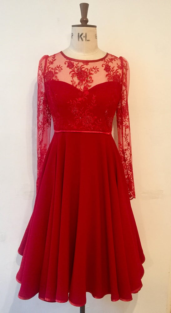 Image of Beaded party dress with long sleeves