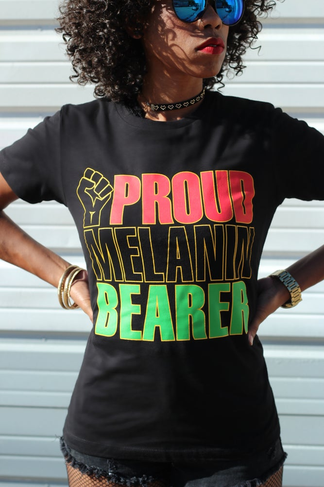 Image of Proud Melanin Bearer Women's Boyfriend T-Shirt