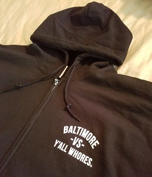 Image of Baltimore Vs Y'all Whores Zip Up Hoodie - White on Black