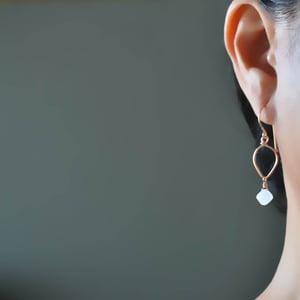 Image of Rainbow moonstone lotus loop earrings 14kt rose gold-filled