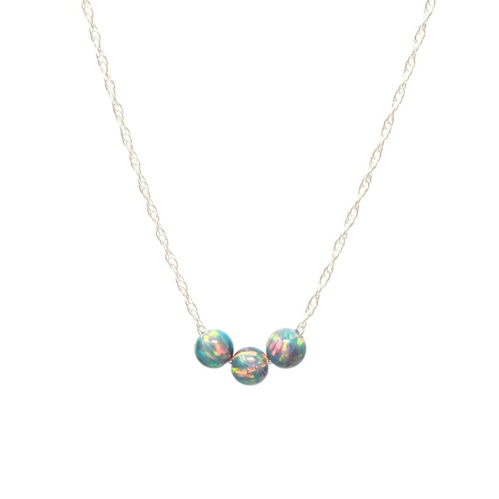 Image of Simulated periwinkle opal necklace trio sterling silver
