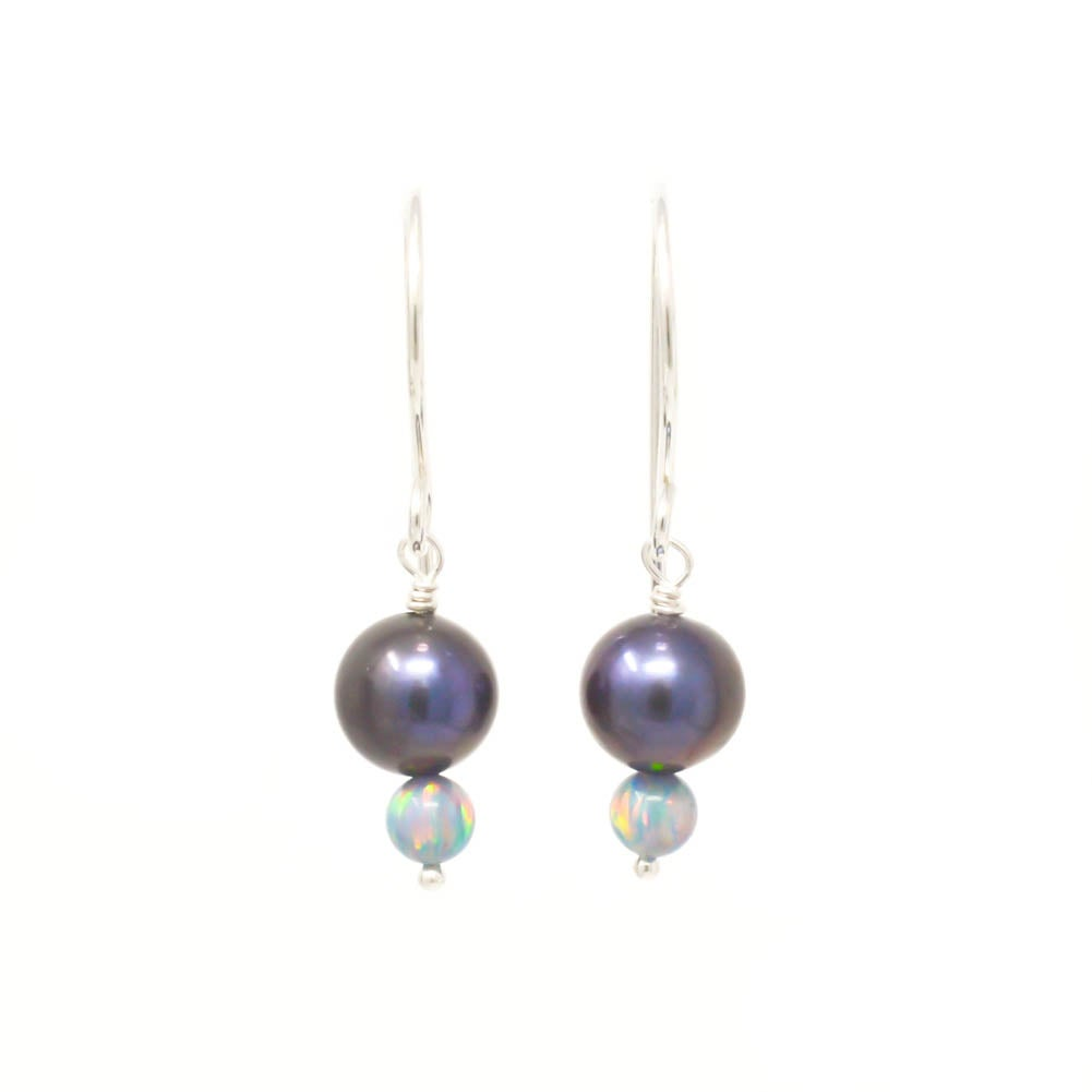 Image of Freshwater cultured peacock pearl sterling silver earrings with simulated opals