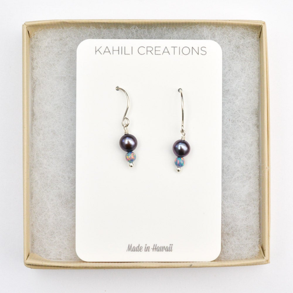 Image of Freshwater cultured peacock pearl sterling silver earrings simulated opals