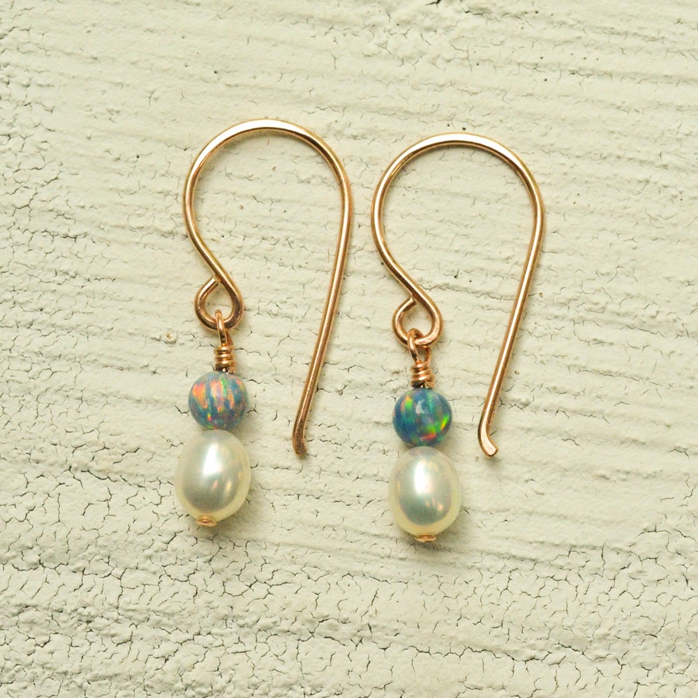 Image of White freshwater cultured pearl earrings simulated opals