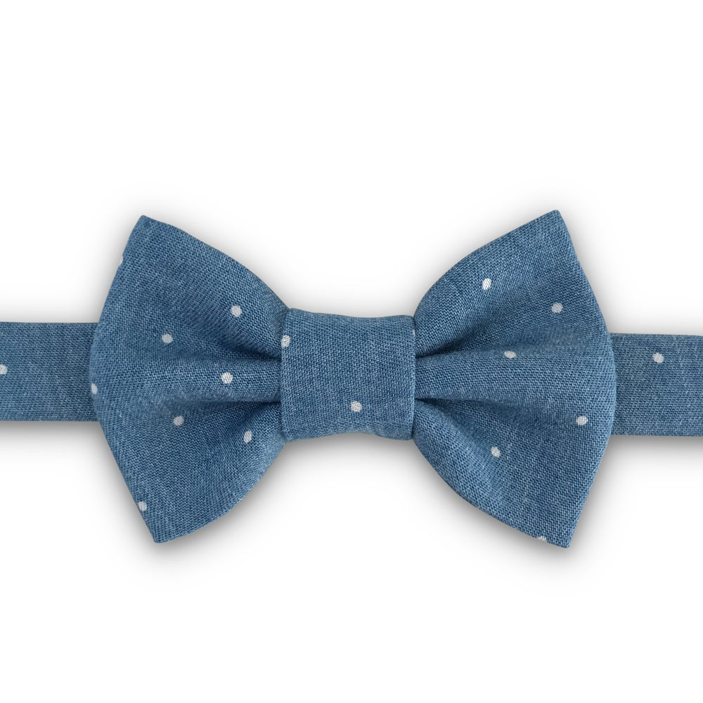 Image of denim chambray dot bow tie