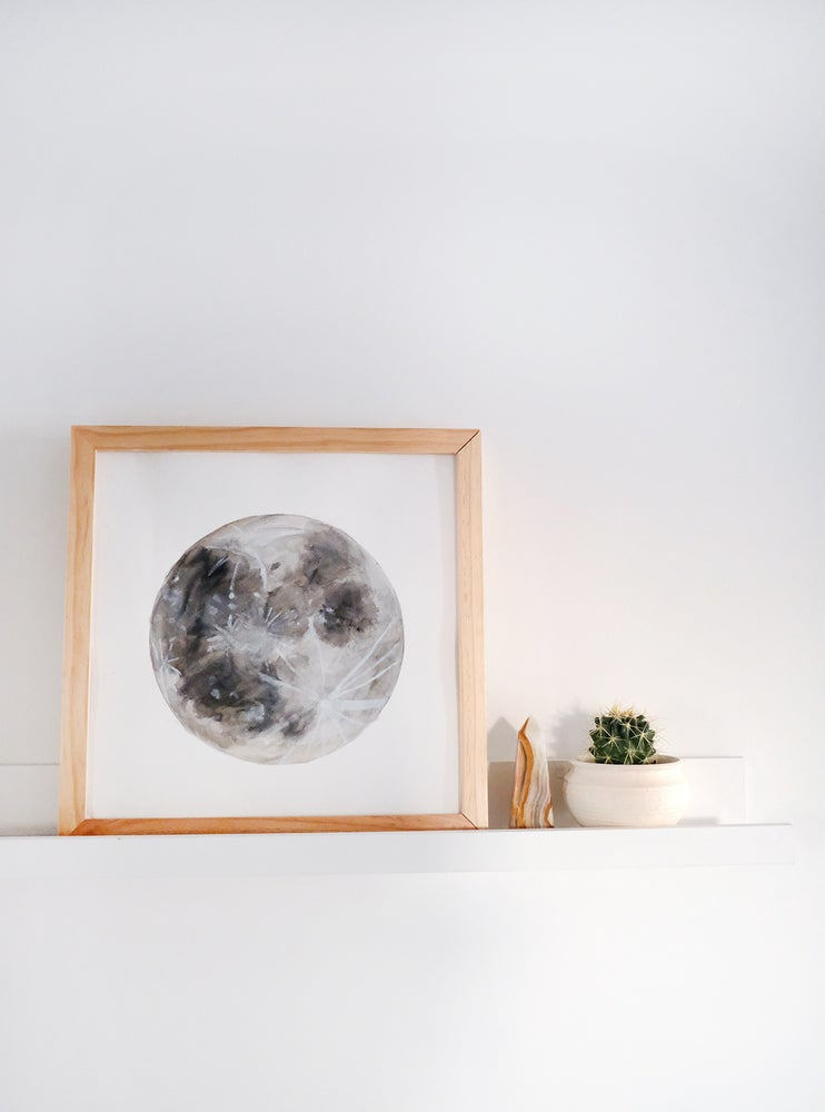 Image of Watercolor Moon Painting - 12x12