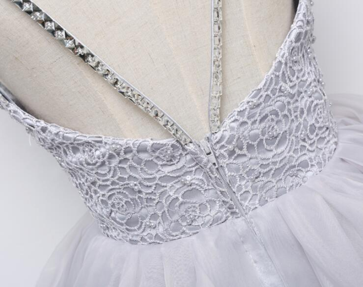 Grey Tulle and Lace Backless Straps Prom Dresses, Grey Wedding Gowns, Party Dresses