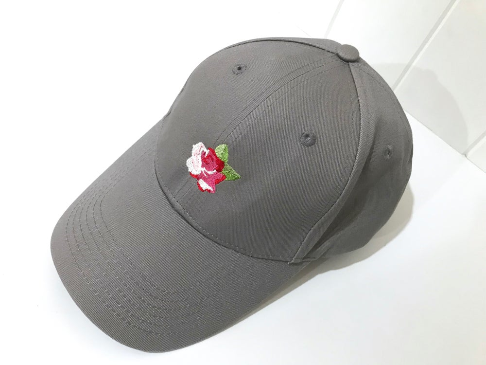 Image of Embroidered Rose Cap - Grey