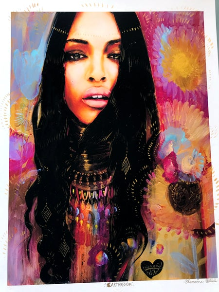 Image of Earth Bloom Hand Embellished Limited Edition Print by Charmaine Olivia