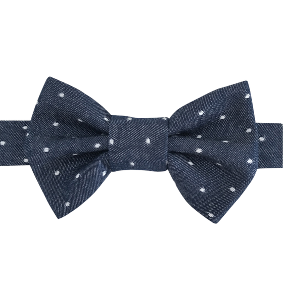 Image of indigo dot chambray bow tie