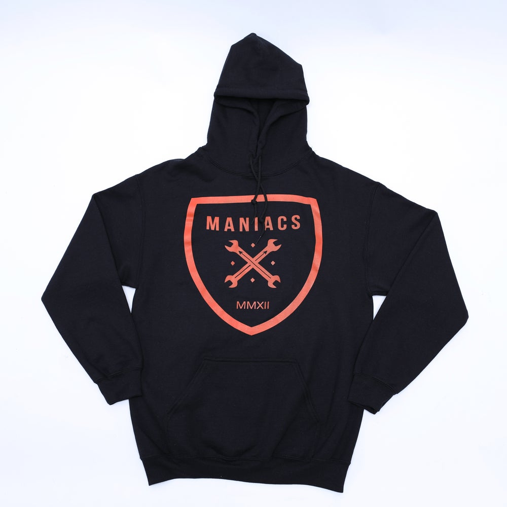 Image of Maniacs Logo Black & Orange Hoodie
