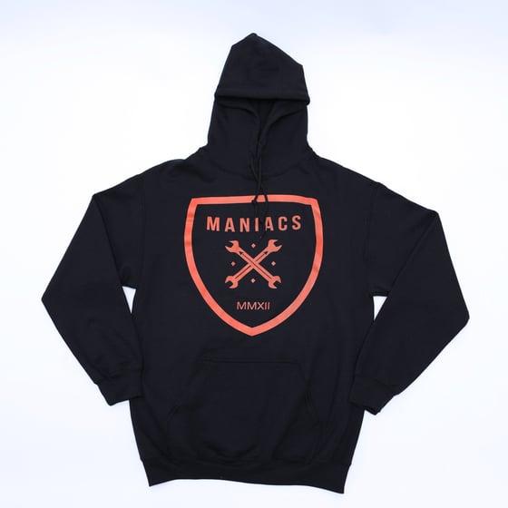 Image of Maniacs Logo Black & Orange Hoodie