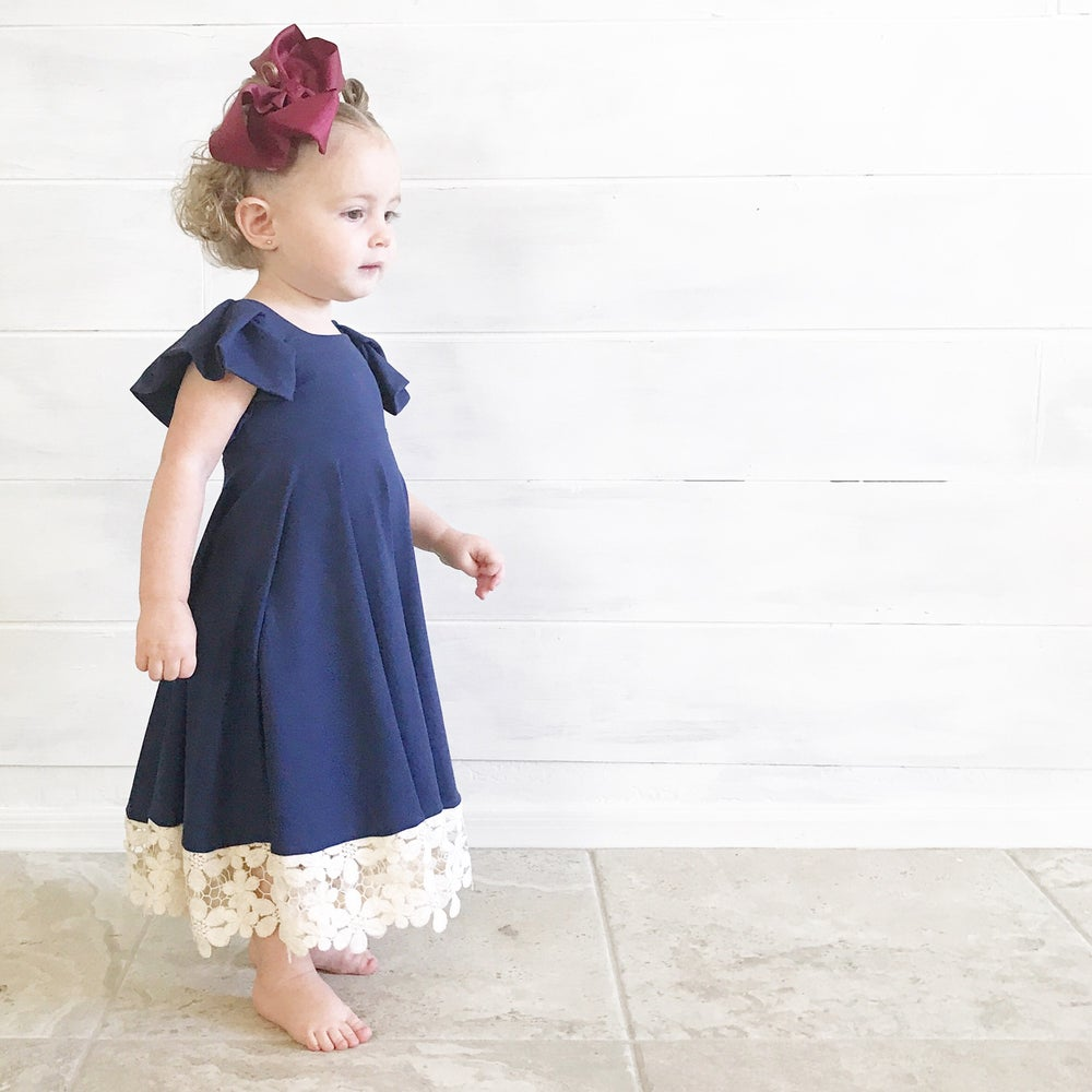 Image of Baby/Girls Navy Blue Pleated Sleeve Twirly Dress with gray lace