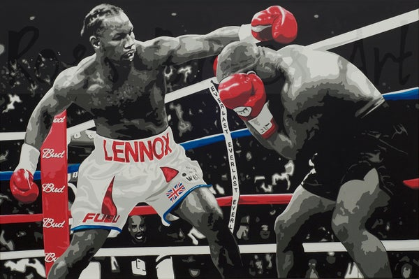 Image of 'LEWIS VS TYSON' (3X2ft canvas print)
