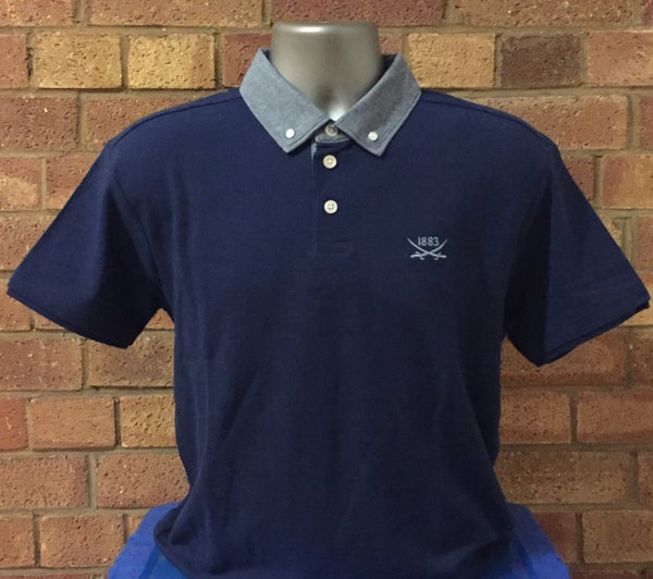 Image of Men's Classic Fit Navy Chambray Polo Shirt (Free UK postage)