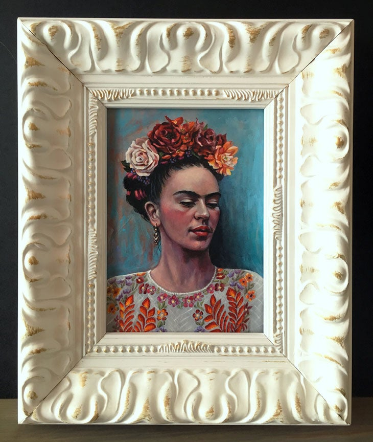 Image of Frida with White Huipil - Framed Original Painting