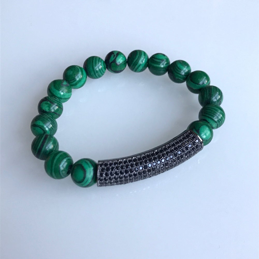 Image of Black Bar Malachite Bracelet