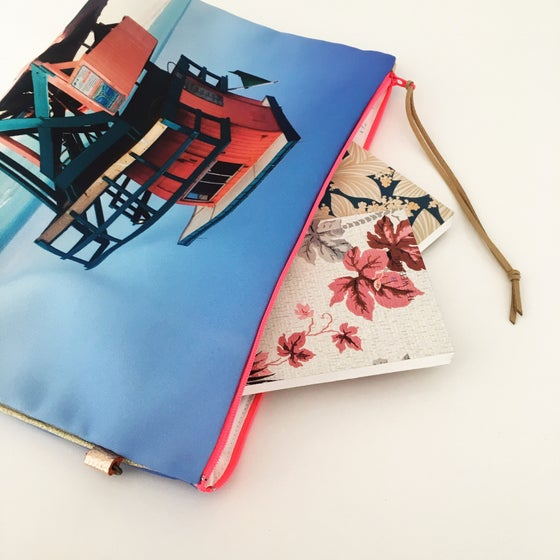 Image of Pink & turquoise Miami Beach Pouch XL