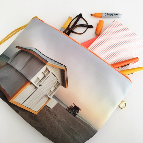 Image of Yellow & grey Sunset Pouch L