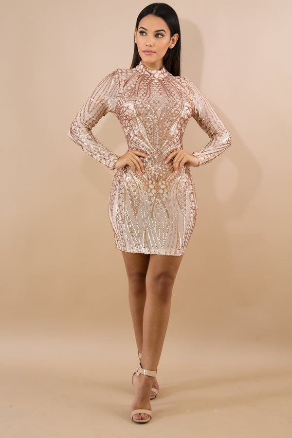 Image of Dazzling Sequin Body-Con Dress