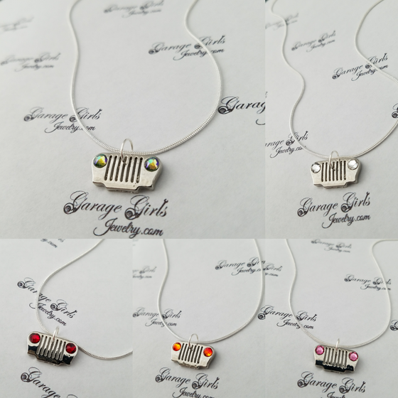 Image of Jeep Grill Necklace with Swarovski Crystal Headlights