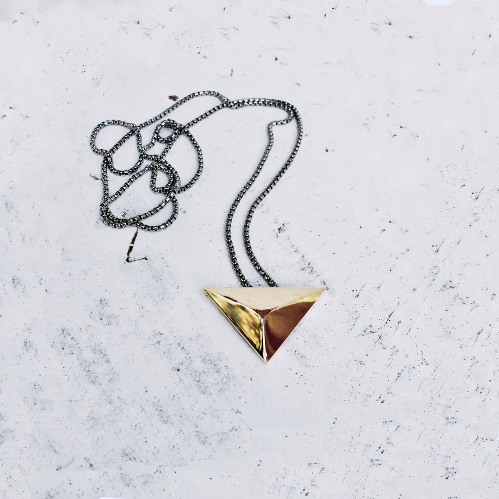 Image of Bronze Sculpture Triangle Necklace