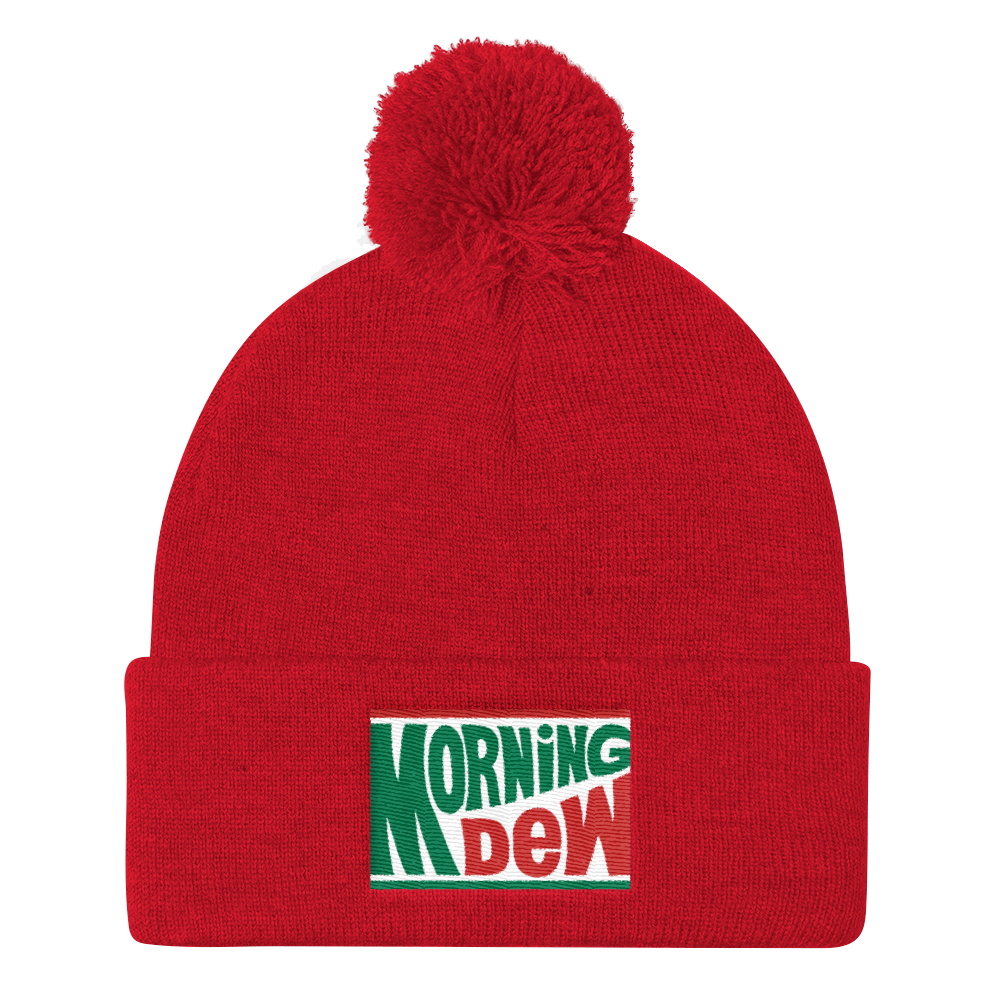 Morning Dew Embroidered Pom Pom Knit Cap